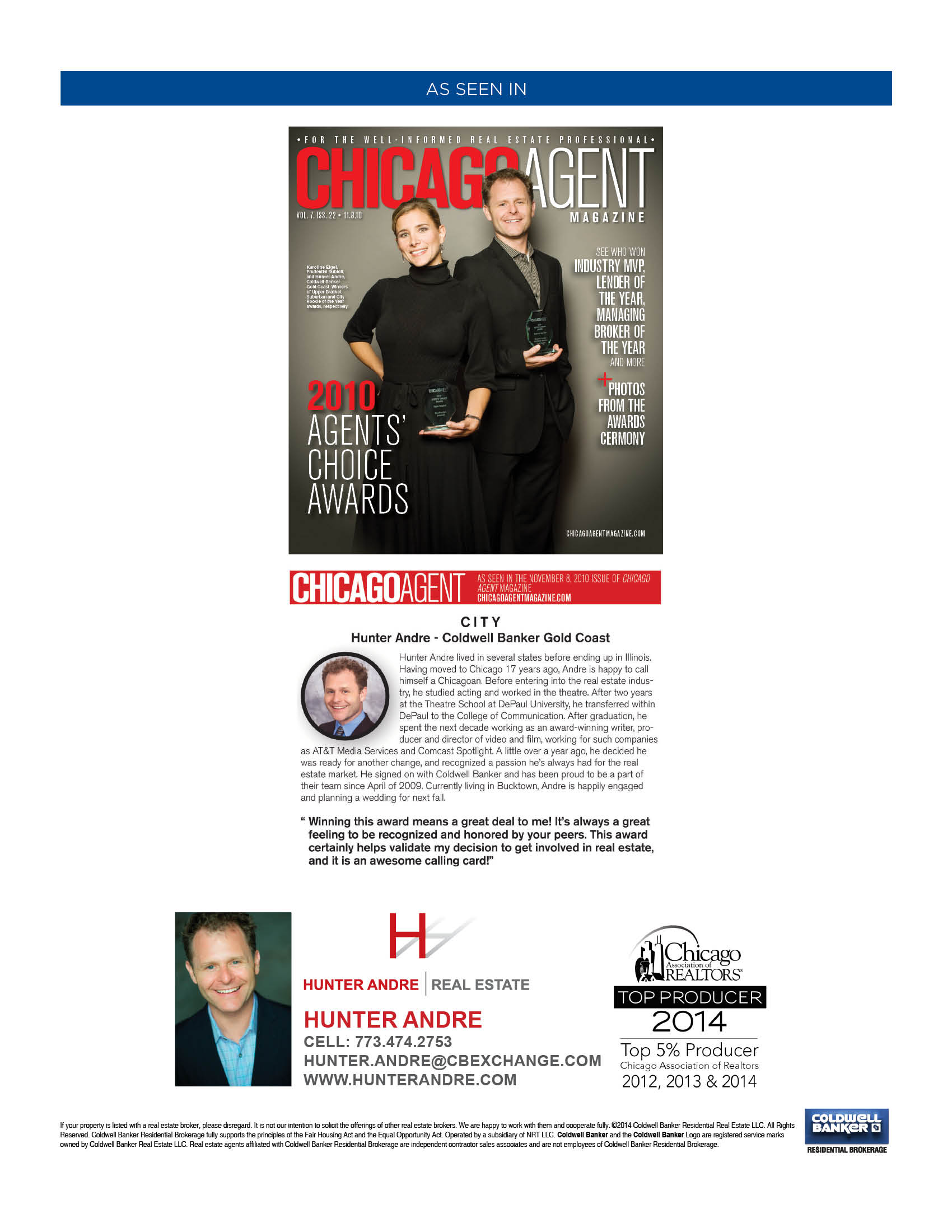 Hunter Andre - Chicago Agent Magazine Rookie of the Year