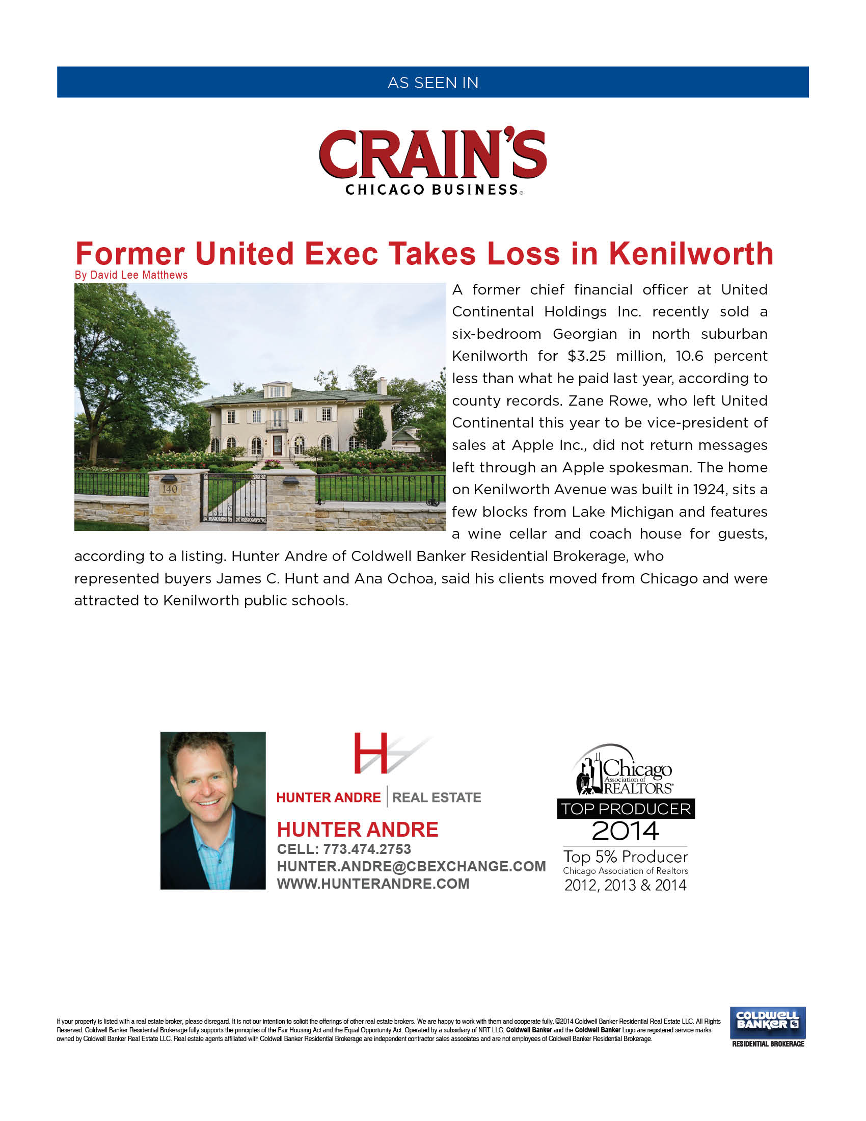 Crain's Chicago Business - Exec Take Loss