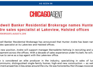 Chicago Agent Magazine - Press Release - Hunter Andre new Sales Specialist