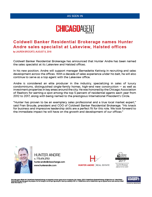 Hunter Andre new Sales Specialist - Chicago Agent Magazine Press Release